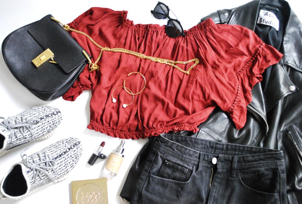 Blouse: XXI, Shorts: H&M, Bag: Chloe, Jacket: Acne Studios,Sunglasses: Dior, Bangles: Tiffany's and Jolie & Deen, Nails: Chanel, Lips: MAC Del Rio, Base: Dior, Eyes: Stila