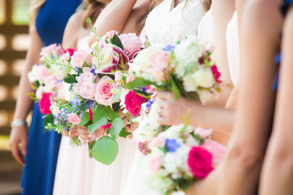 Pink and Navy Bridal Bouquet by Natalie Smith Photography