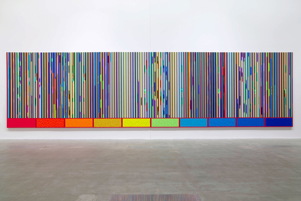 AURA - Ten Eye Colours,  2003 - 2008 Synthetic polymer paint on belgium cotton Ten panels 315 x 120cm each, 315 x 1200cm overall Photography: Queensland Art Gallery