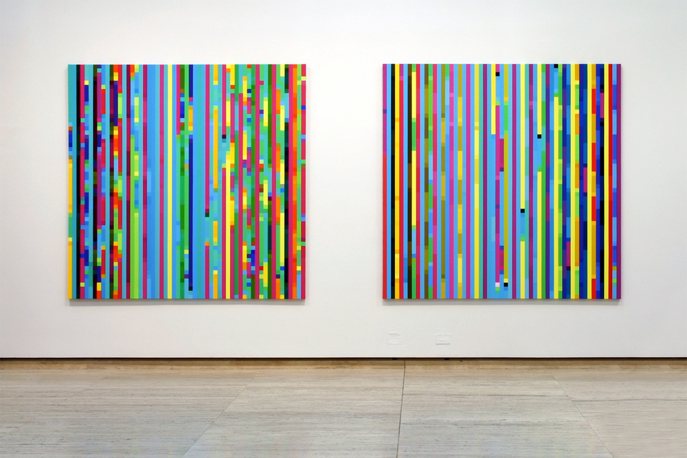 Melatonin Shift #1 Melatonin Shift #2  From the series  Time - Feeling Time , 2003 - 2006 Synthetic polymer paint on linen, 198 x 198cm each Photography: Art Gallery of New South Wales