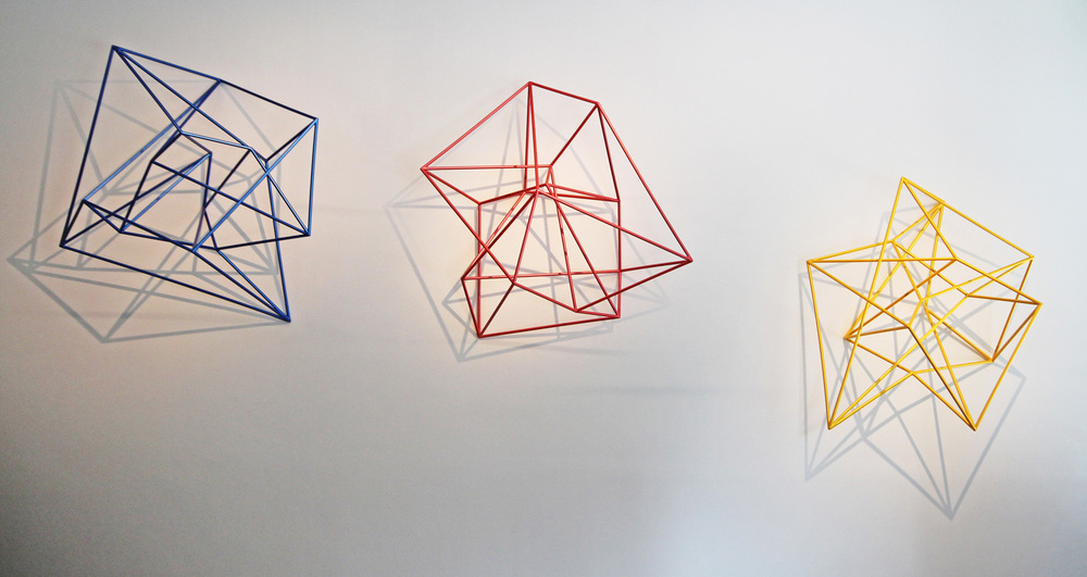 Shadow Play - Fourth Constellation,  2011 Three structures from the series  Thought Forms  Painted stainless steel, 198 x 190.5 x 101.5cm each approx Collection National Australia Bank, Victoria Photography: Ben Lornie  Development Model