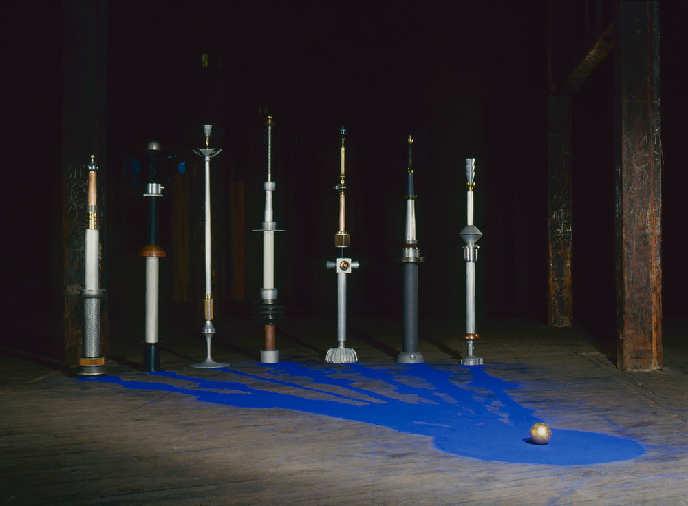 "Hearing,  1986 6th Biennale of Sydney  ""Origin, Originality and Beyond""  Mixed metals, plastic, glass, rubber, pigment and gold leaf 250 x 430 x 530cm"
