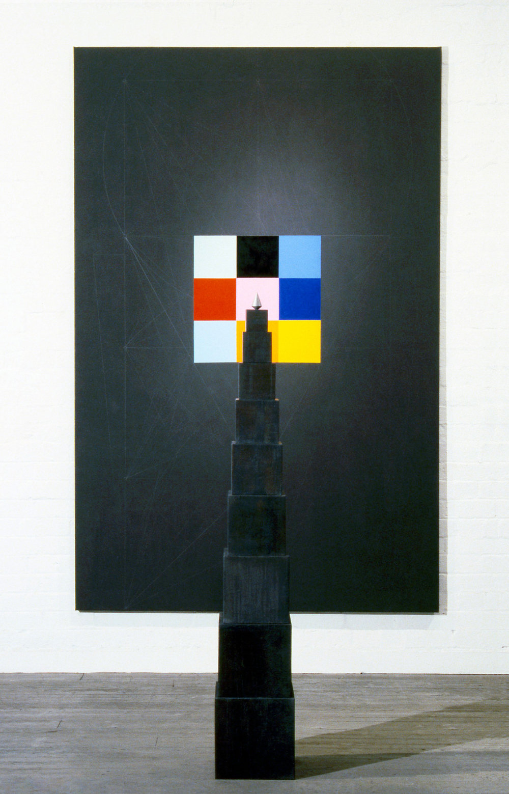 Because of this   (for Piotre Olszanski),  1987 Oil, graphite and acrylic on canvas, 259 x 168cm Floor: Wood, lead and chrome plated cast iron, 172 x 28 x 28cm