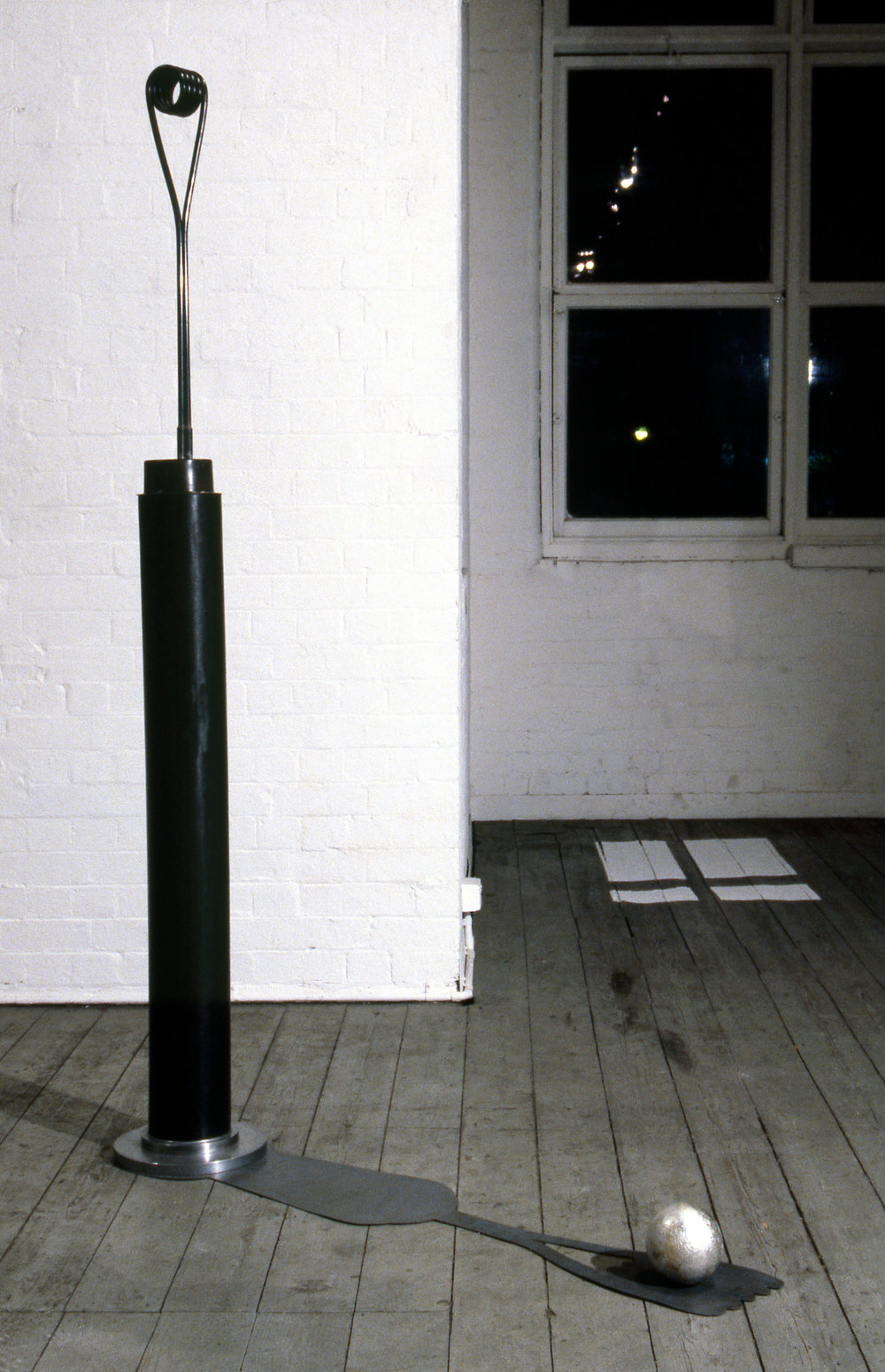 Shadow Catcher,  1987 cast iron, lead, copper, aluminium, pvc and silver leaf, 273 x 33 x 33cm