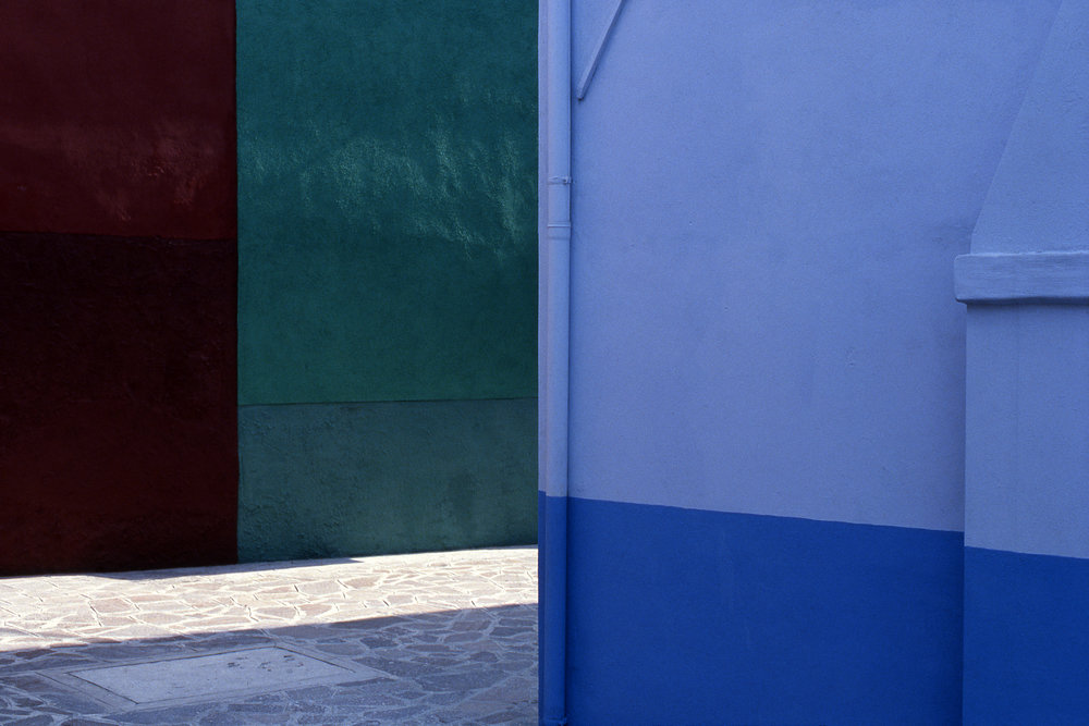 Street, Burano Italy, 1978 , Cibachrome Print, 16 x 24cm, Edition of 10.                            Exhibition:  Burano Colour Works , Australian Centre for Photography, Sydney; Solander Gallery, Canberra; Wagga Wagga City Art Gallery, Wagga Wagga, 1979.
