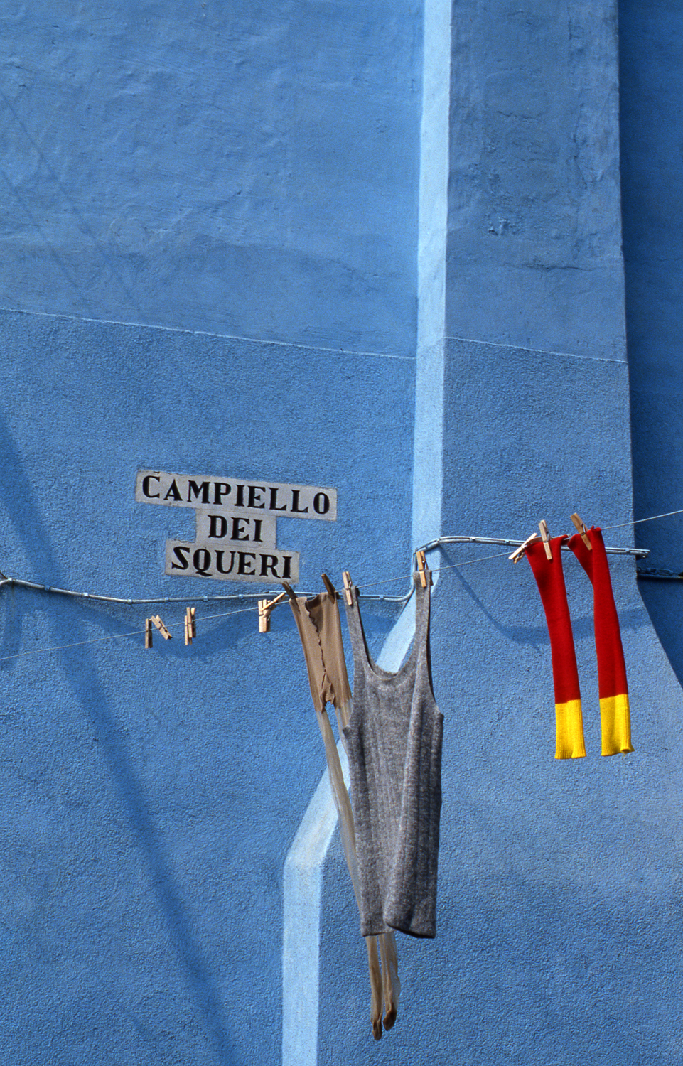 Red Socks, Burano Italy, 1978 , Cibachrome Print, 24 x 16cm, Edition of 10.                            Exhibition:  Burano Colour Works , Australian Centre for Photography, Sydney; Solander Gallery, Canberra; Wagga Wagga City Art Gallery, Wagga Wagga, 1979.