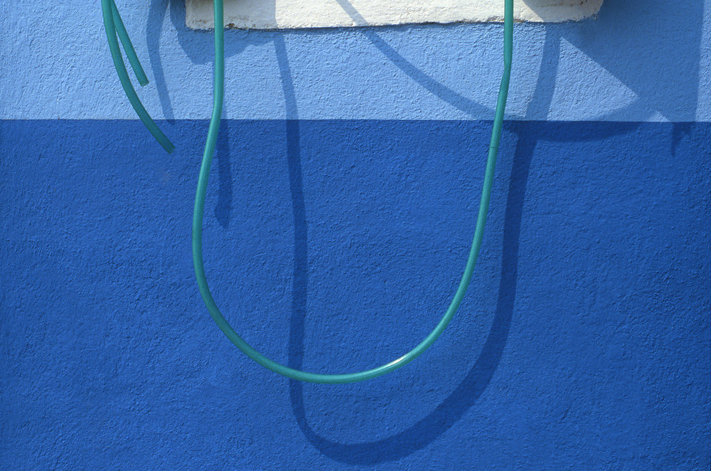 Hose, Burano Italy, 1978 , Cibachrome Print, 16 x 24cm, Edition of 10.                            Exhibition:  Burano Colour Works , Australian Centre for Photography, Sydney; Solander Gallery, Canberra; Wagga Wagga City Art Gallery, Wagga Wagga, 1979.