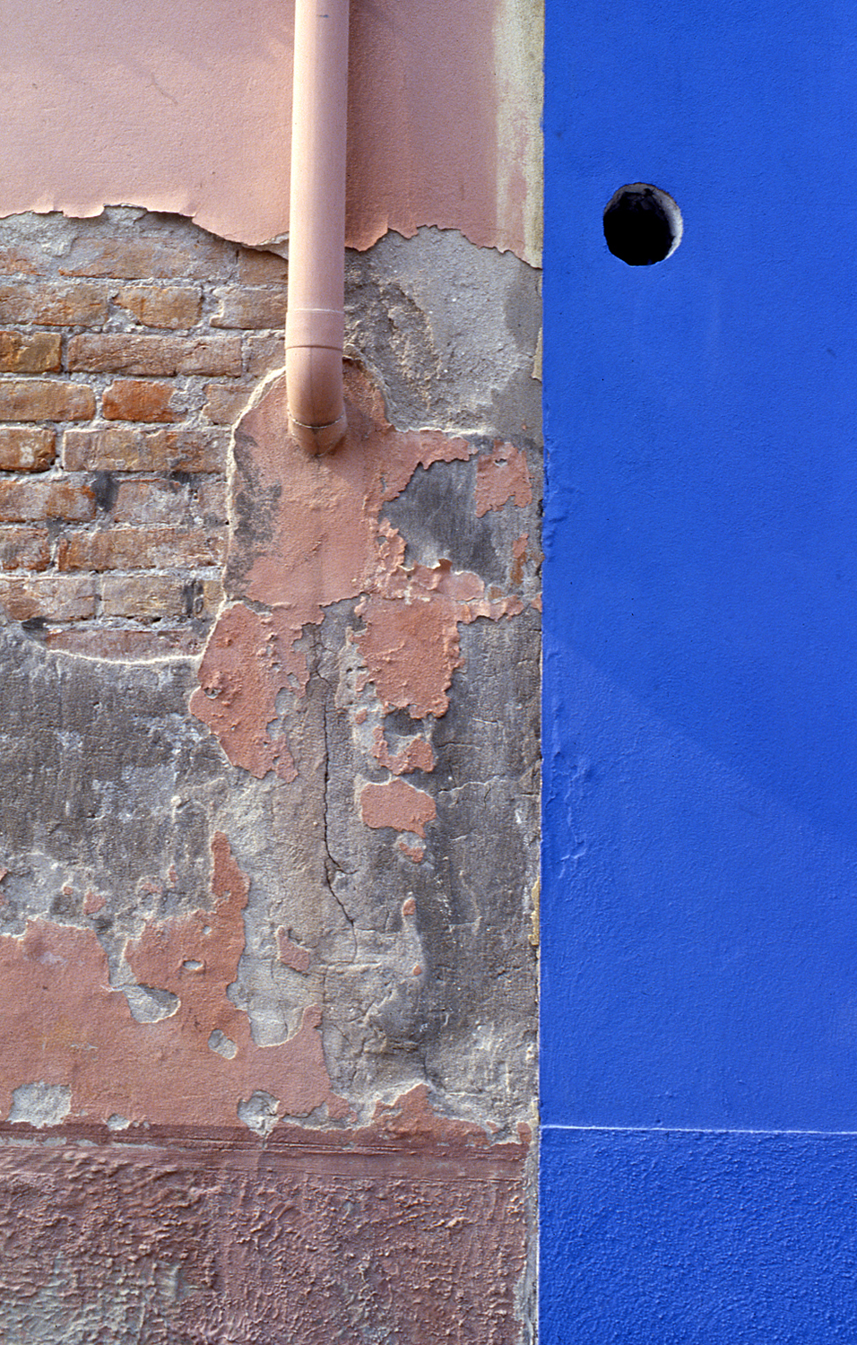 Pink and Blue Wall, Burano Italy, 1978 , Cibachrome Print, 24 x 16cm, Edition of 10.                            Exhibition:  Burano Colour Works , Australian Centre for Photography, Sydney; Solander Gallery, Canberra; Wagga Wagga City Art Gallery, Wagga Wagga, 1979.