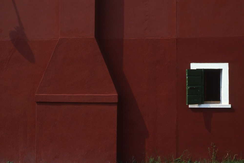 Red Wall with Window, Burano Italy, 1978 , Cibachrome Print, 16 x 24cm, Edition of 10.                            Exhibition:  Burano Colour Works , Australian Centre for Photography, Sydney; Solander Gallery, Canberra; Wagga Wagga City Art Gallery, Wagga Wagga, 1979.