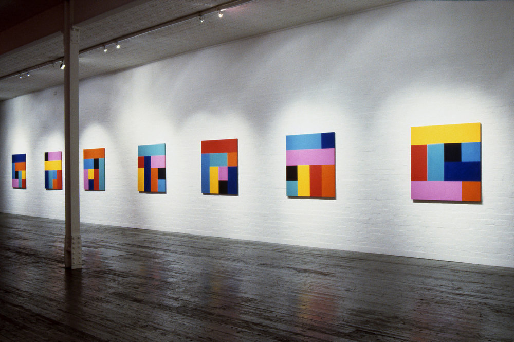 Sunrise, 1993 Installation View,  Origami  series, Synthetic polymer paint on canvas, 122 x 122cm each, City Gallery, Melbourne