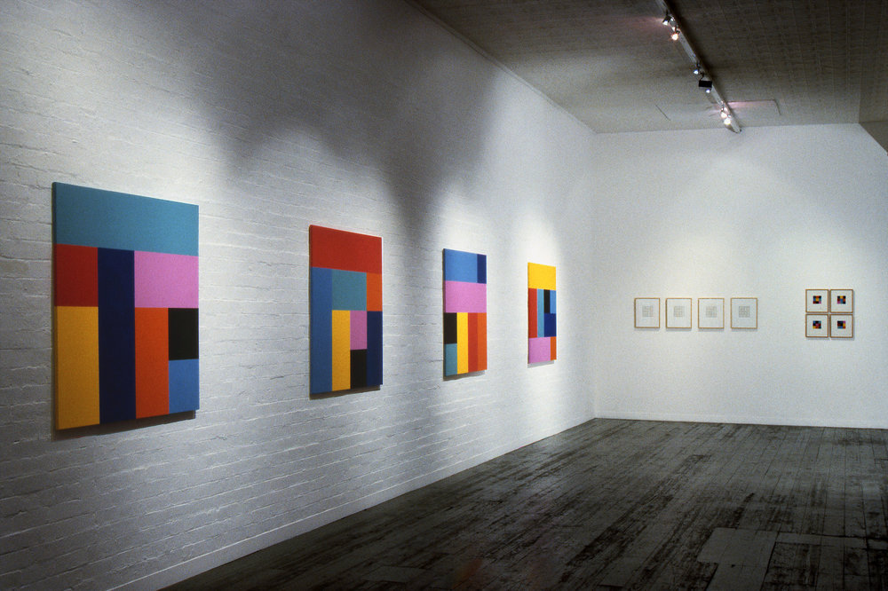 Sunrise, 1993, Installation View,  Origami  series, Synthetic polymer paint on canvas, 122 x 122cm each, City Gallery, Melbourne.