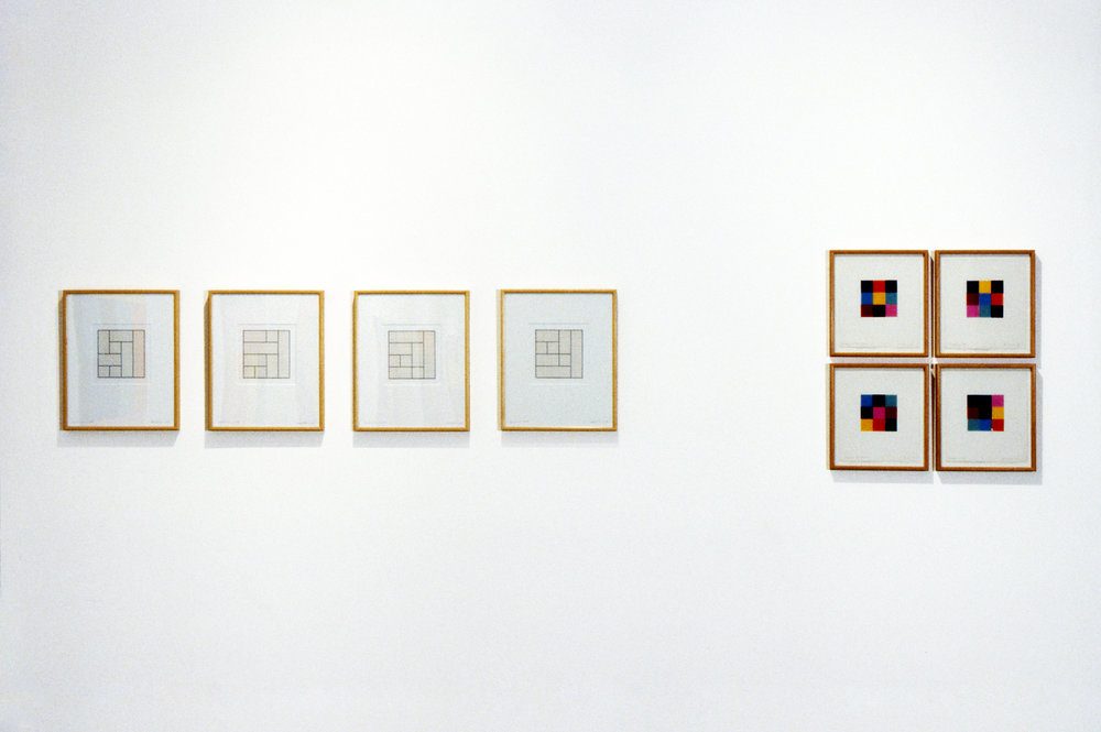 Terminus series, 1969, Pencil and tape on Arches paper, 43 x 35cm each.  Origami Studies (for Lisa), 1971, Origami paper and pencil on Arches paper, 33.5 x 31cm each.