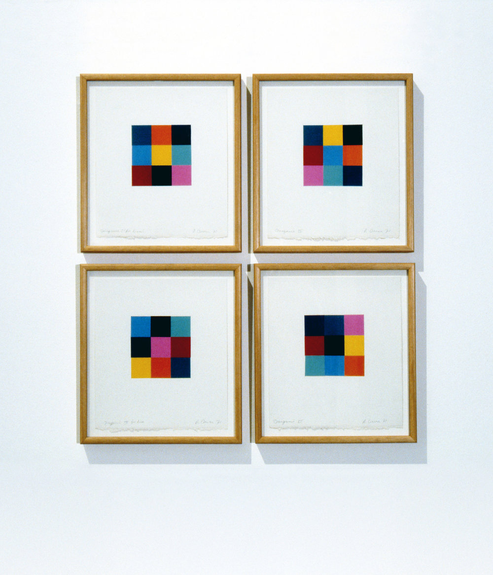Origami Studies (for Lisa), 1971, from the series  Notes to Myself,  Origami paper and pencil on Arches paper, 33.5 x 31cm each.