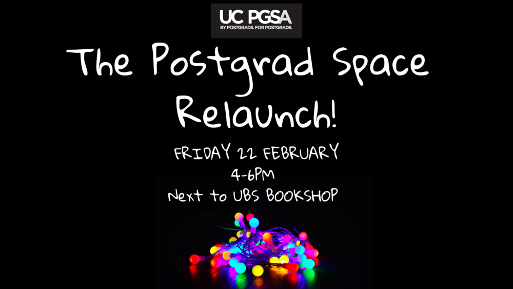 Mingle with your fellow postgrads at your very own space on campus! Meet the PGSA exec to find out what events we have in store for 2019. Come by for some food (vegan, vegetarian, and gluten-free options available), alcoholic & non-alcoholic drinks, and music!