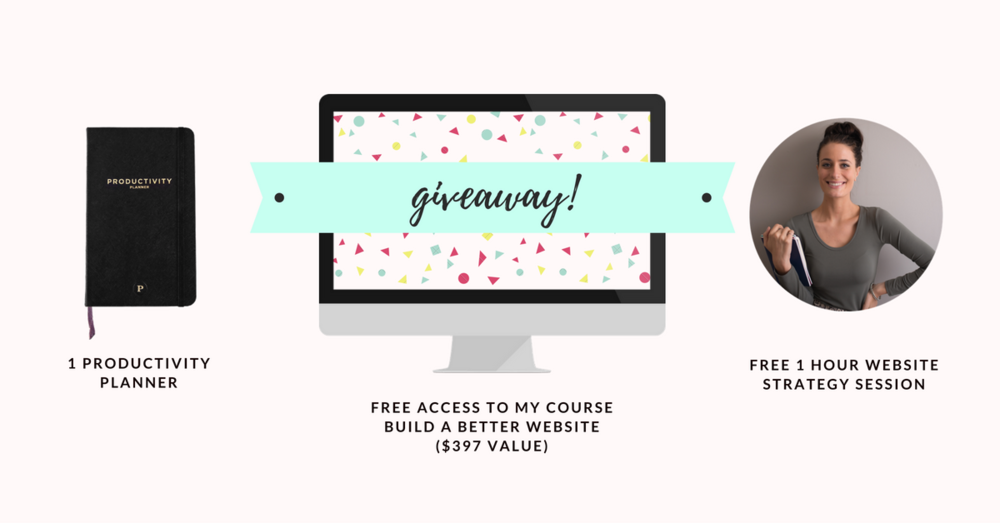 Woo hoo! It's giveaway time! Here's what you can win:  - Free access to my online course, Build a Better Website (where you'll learn exactly how to create an awesome website from scratch that gets you clients! - $397 value)  - Free 1 hour website strategy session with me (where we plot out a master plan for your website)  - 1 Productivity Planner (my absolute fav planner that keeps me on track everyday and has increased my productivity 10x)  Enter here to snatch it all up:  http://www.solopreneursidekick.com/giveaway