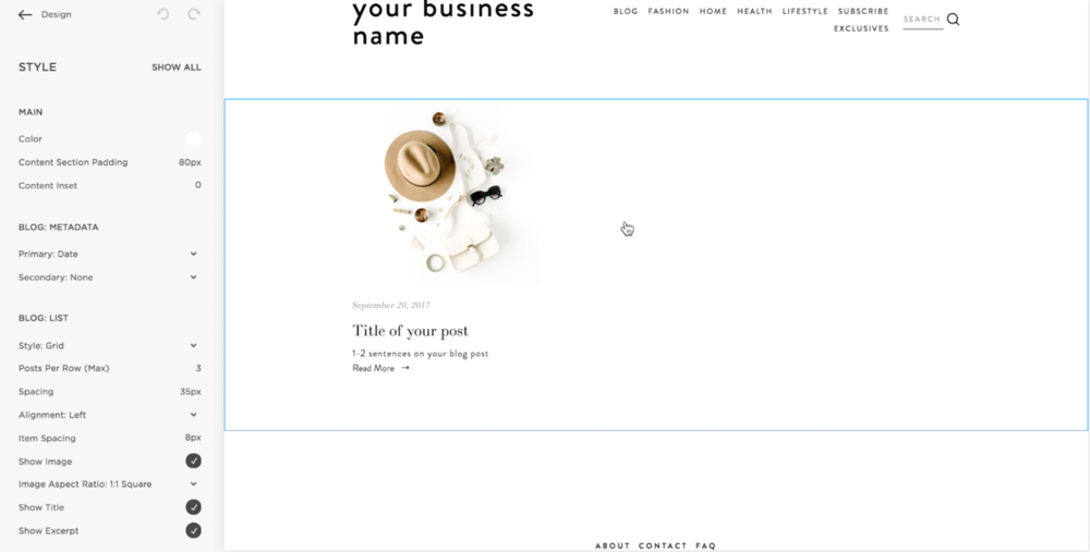 How to edit the look of your Squarespace blog