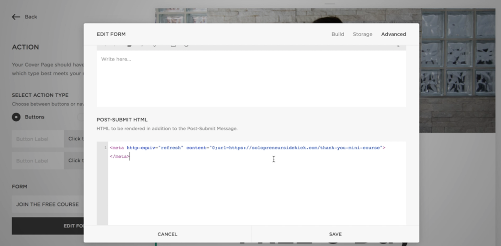 Redirect to a thank you page in Squarespace - code