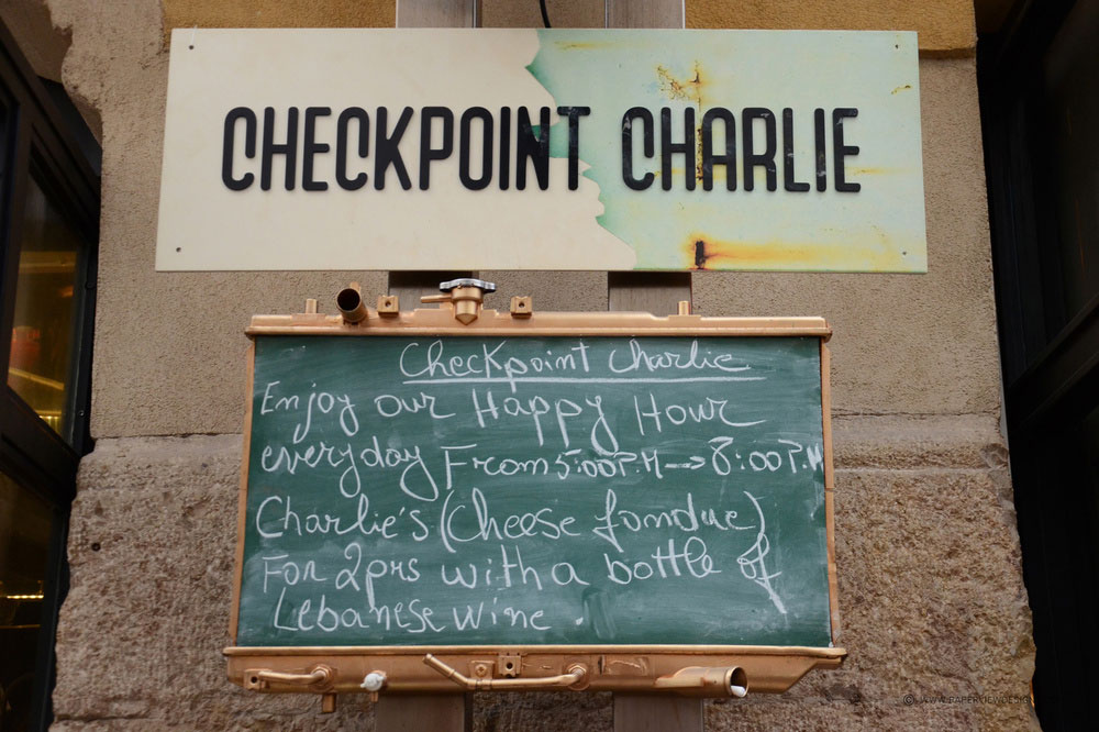 Checkpoint Charlie Branding Outside Sign and Chalk Board