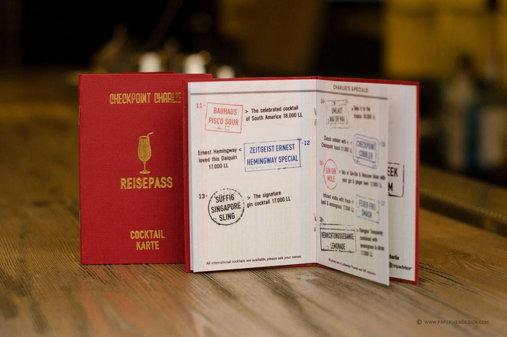 Checkpoint Charlie Beirut Pub Drink Menu Branding