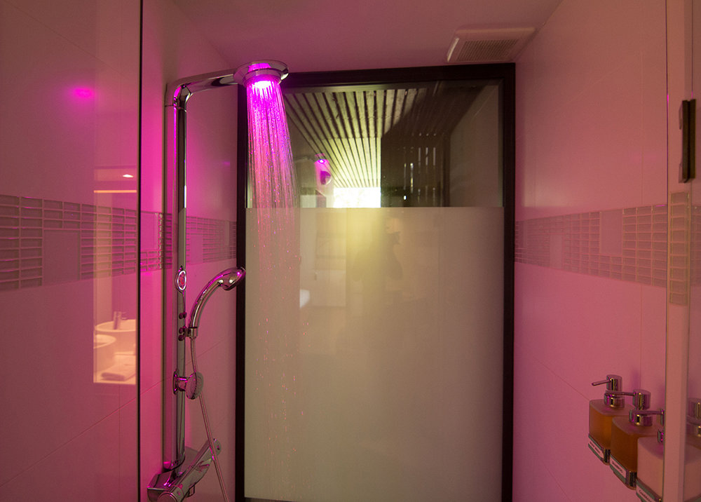 Rainbow shower with LED beautifully colored lights