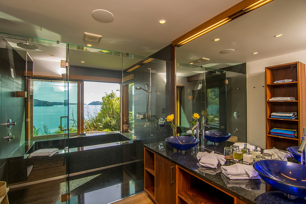 Japanese-style bath with ocean views