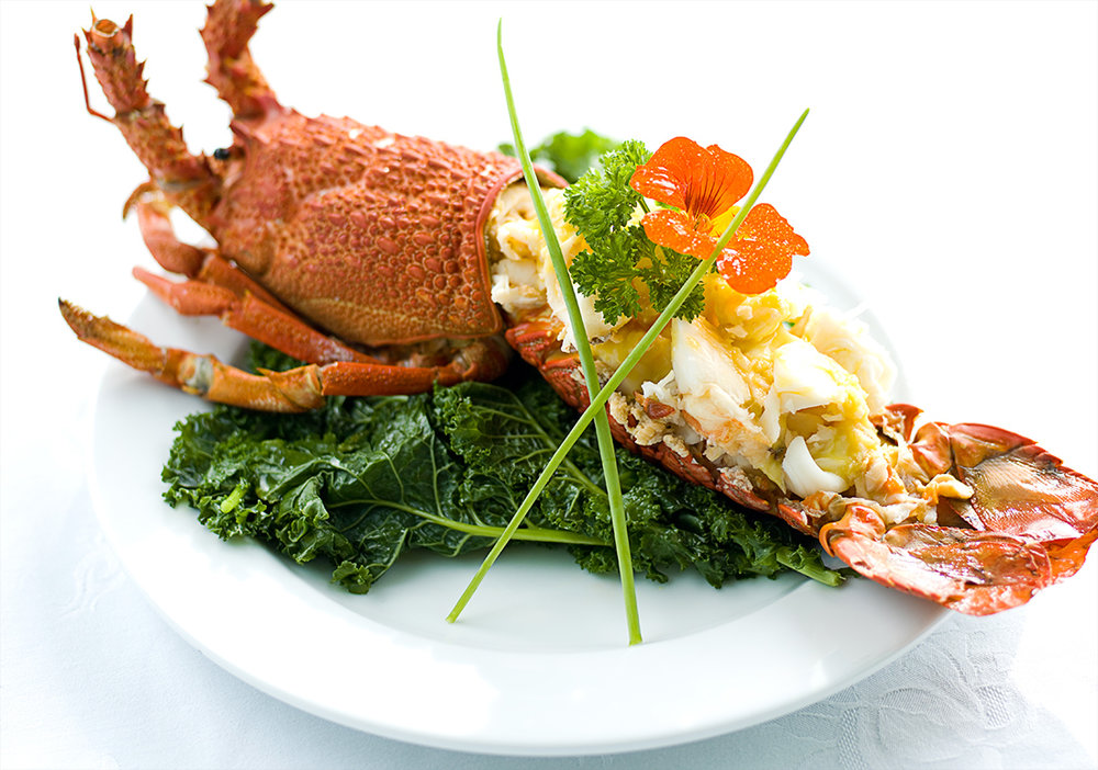 Lobster with honey garlic mustard sauce