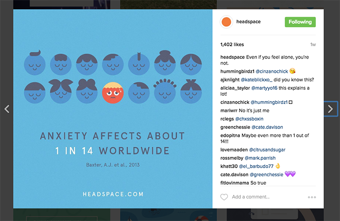 Headspace use of typography on istagram