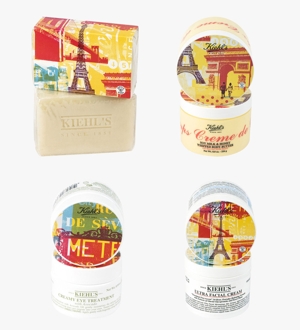 Limited Edition Kiehl's packaging for Le Bon Marché in Paris by Miles Donovan.