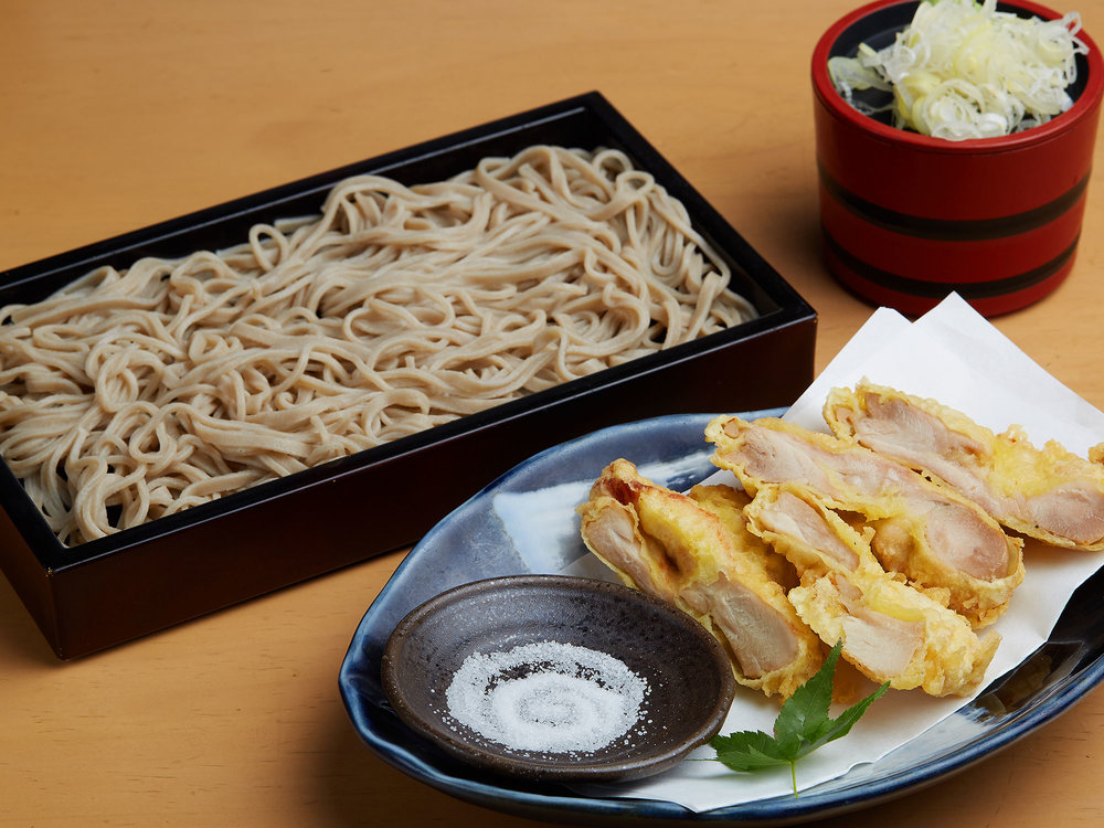 鶏天蕎麦 (幌加内産そば粉100%使用) <br>Tori ten Soba (hot or cold) ($14)