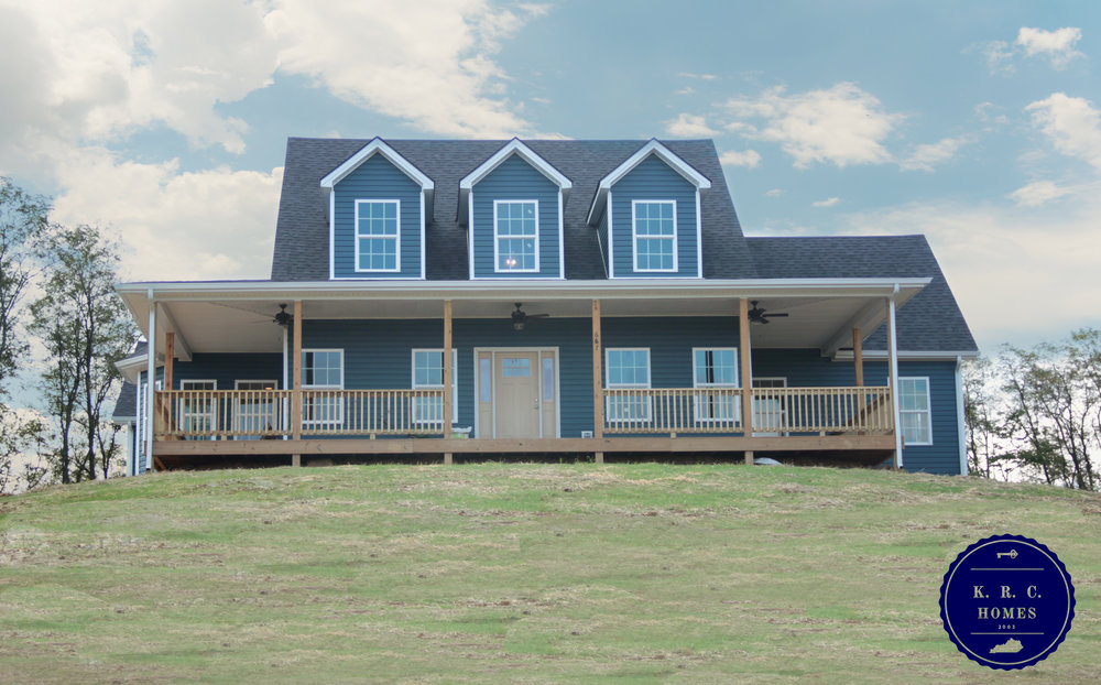 This 2 Story Home On A Finished Basement Sits On The Hilltops In Stamping  Ground, Kentucky, With Blue Skies All Around.