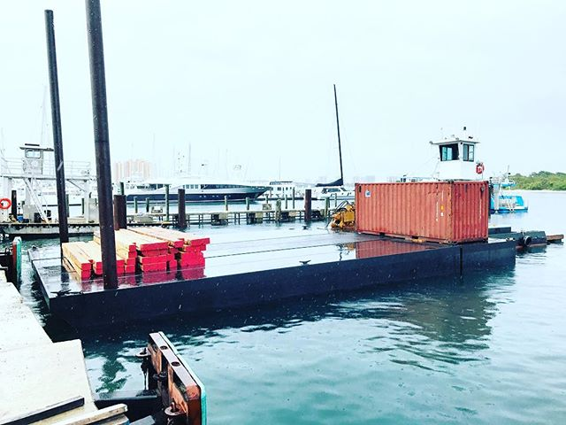 New Sectional Barge for the Company. Ready to go to work! #marineconstruction #palmbeach #barge #piledriver #palmbeachcounty