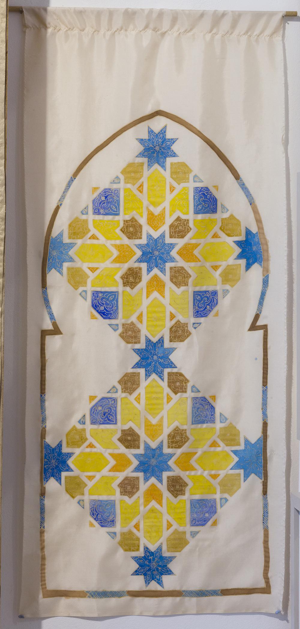Qarawiyyin silk painted hanging ~ Islamic Art, Moroccan Art, Textile Art, Pattern Design, Shaheen Kasmani