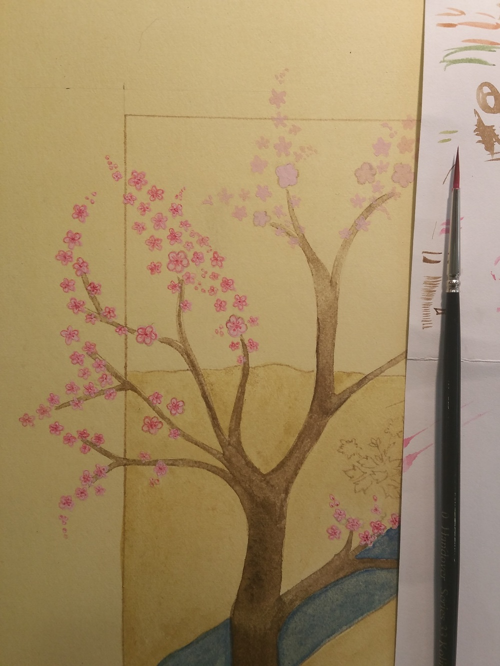 Adding layers of colour and detail to the blossom