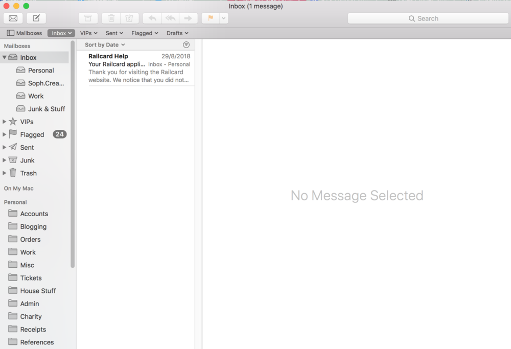 My new and improved inbox! Pay no intention to the fact my railcard needs to be renewed... it's on my today list.