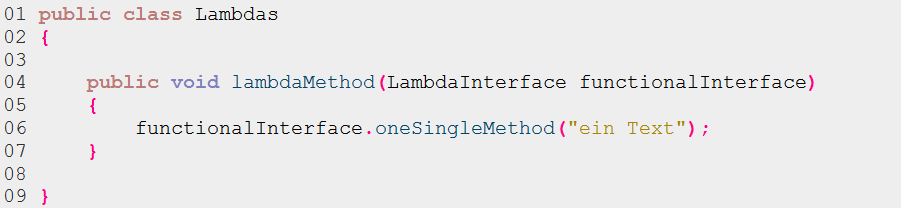 Listing 2: Methode mit FunctionalInterface-Parameter