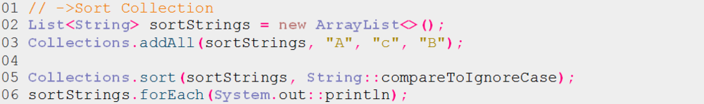 """Listing 6: Sortieren einer Liste vom Typ String mit dem funktionalen Interface """"Comparator"""""""
