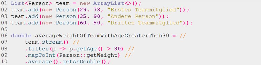 Listing 7: Verwendung eines Streams zur Listenverarbeitung