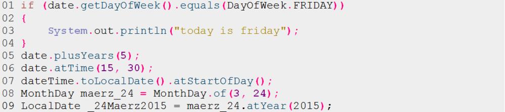 Listing 11: Beispiele zur DateTime-API aus Java SE 8