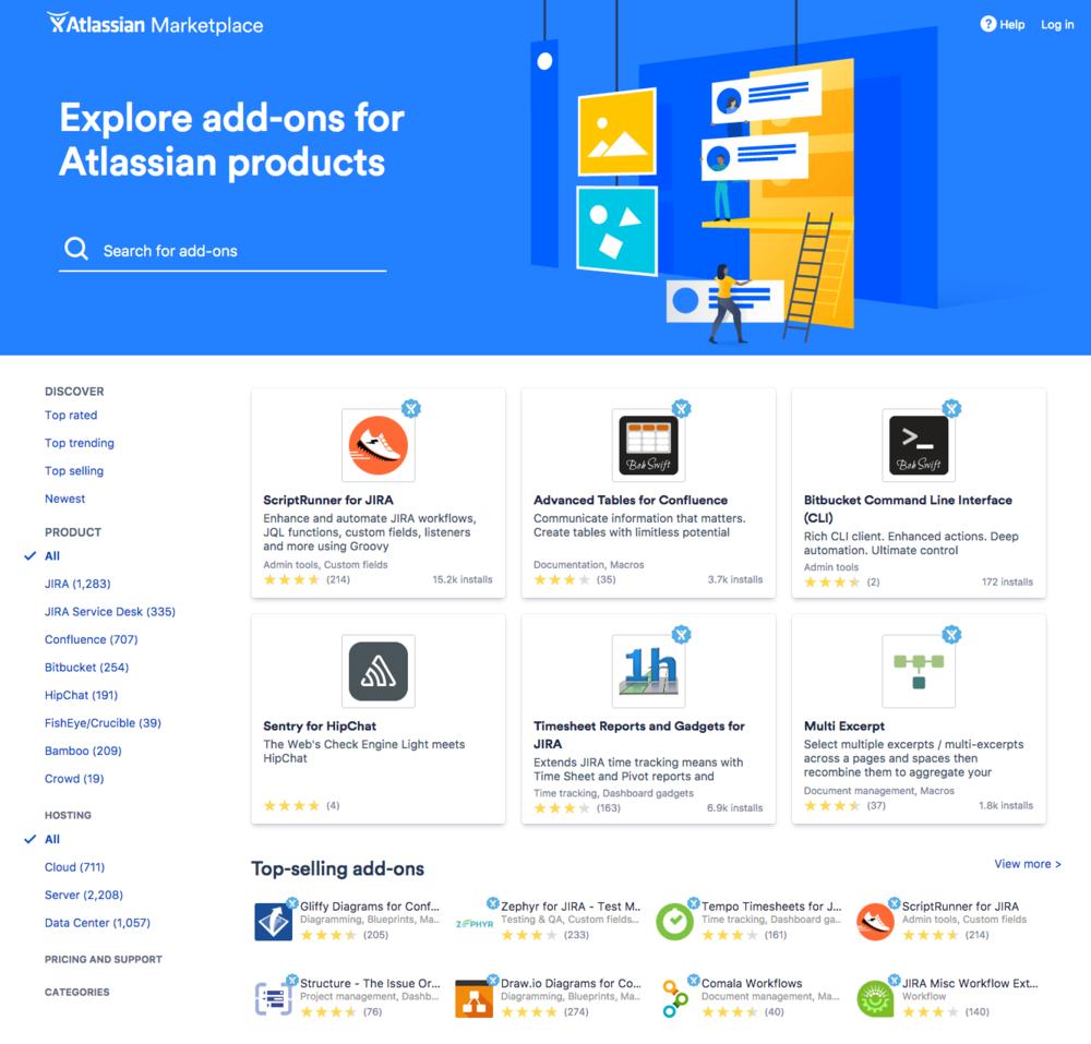 Startseite des Atlassian Marketplace
