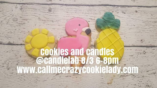 Flamingo Cookie Class with the Candle Lab  When: Friday August 3, 2018 6-8pm Location: 4409 Butler St (7.03 mi)Pittsburgh, Pennsylvania 15201 www.thecandlelab.com $55 a person gets you a session with The Crazy Cookie lady, learning how to make your own decorated royal Icing Cookies, an 8oz candle made with your signature scent and 2 hours of crazy fun.  Beginner Cookie Class: Learn the basics of cookie decorating. No experience necessary.  Skills taught: Baking Basics Royal Icing Basics Piping Tipless bags Outline/flooding Wet on wet icing