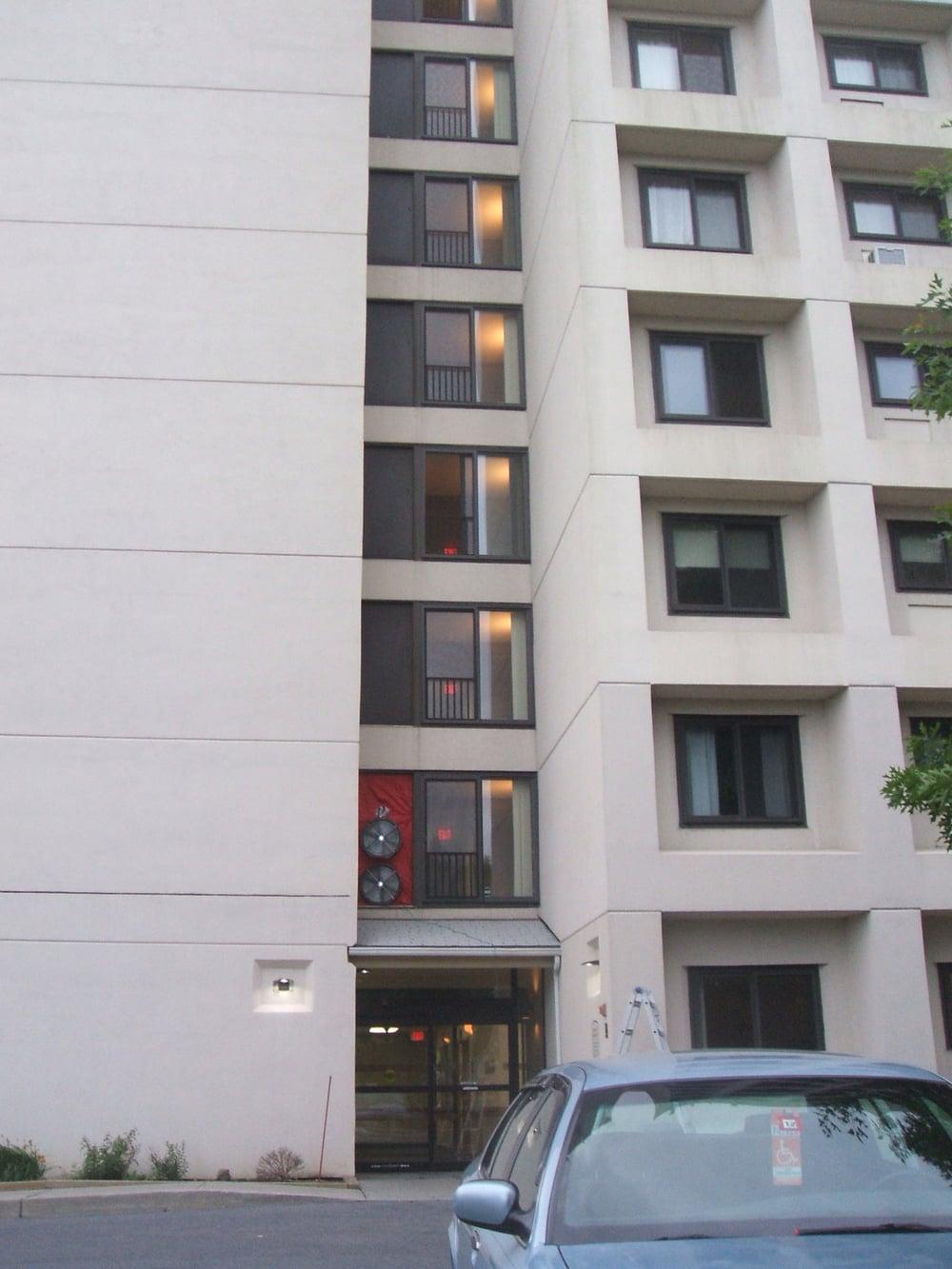 Blower Doors on 2nd Floor & Large Scale Blower Door Test - Sheldon Towers u2014 Zero by Degrees LLC