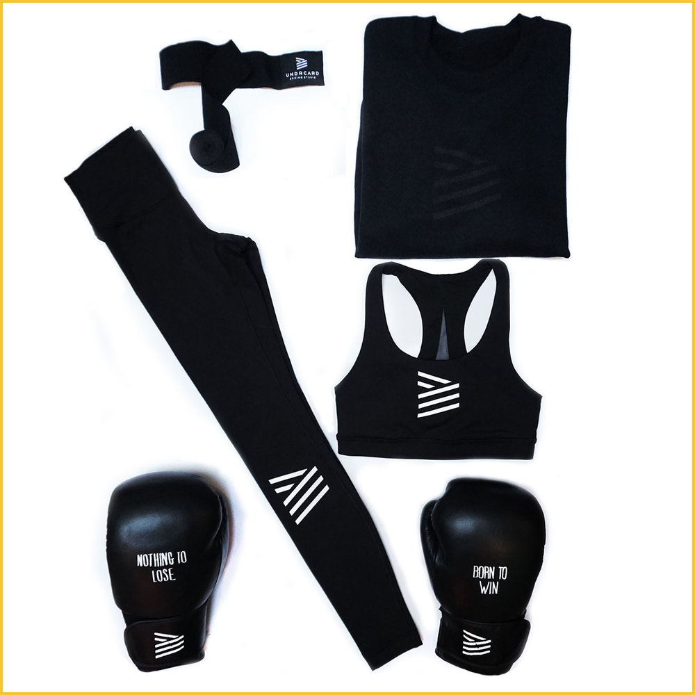 THE REBEL   We have the complete line-up for the health goth in your life.  UNDRCARD Stealth Crew ,  UNDRCARD hand wraps ,  lululemon Wunder Under High Waist tights ,  Lululemon Invigorate Sports Bra ,  UNDRCARD Born to Win gloves .