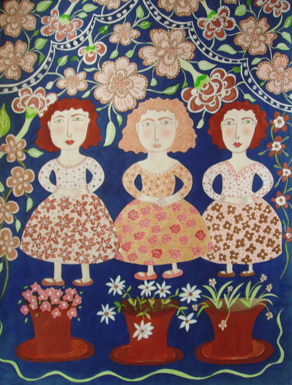 Three Girls with Three Pots