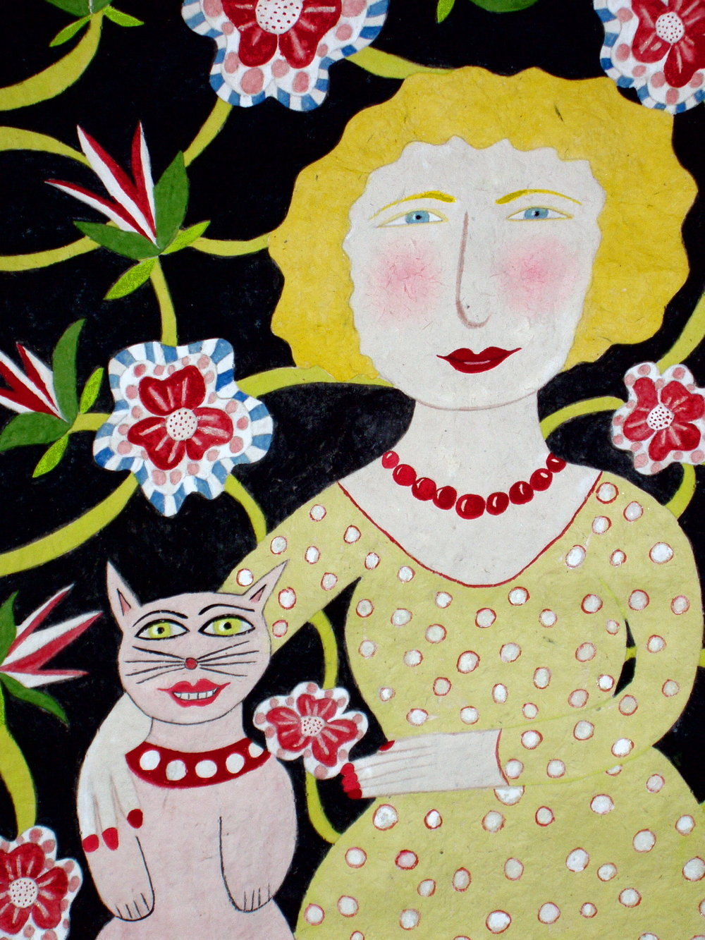 Blond Headed Woman with Cat