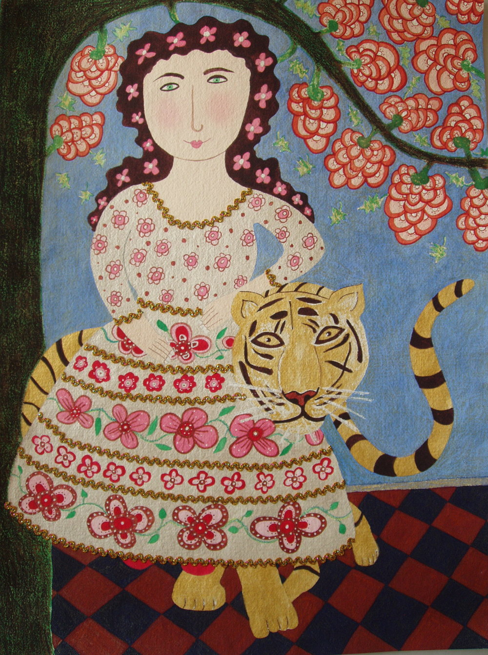 Woman Riding Tiger