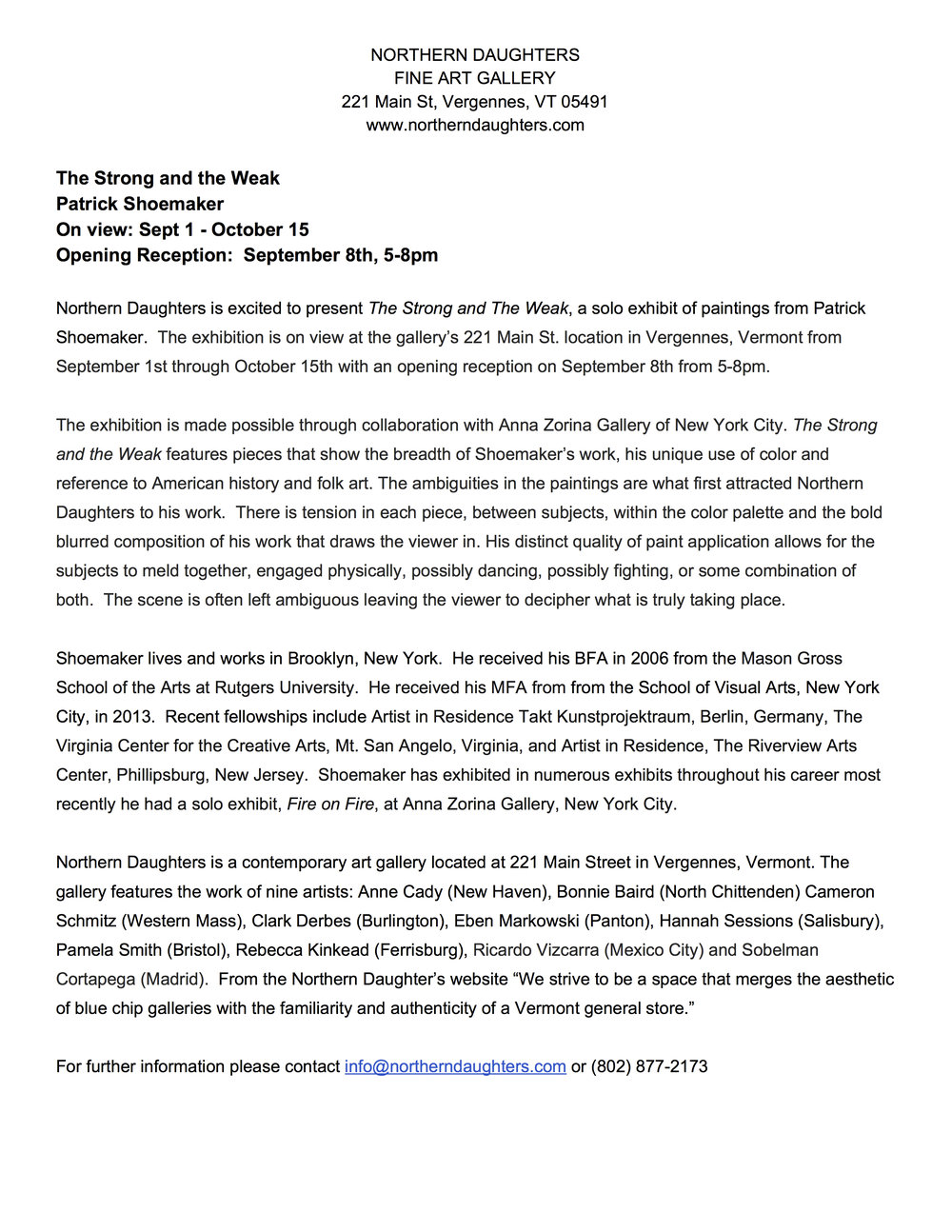 The Strong and the Weak -  Press Release