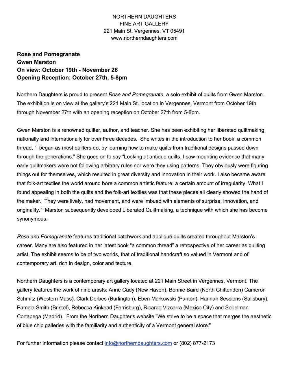Rose and Pomegranate -  Press Release