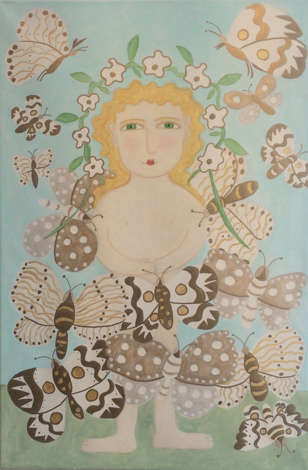 Girl with Flying Butterflies