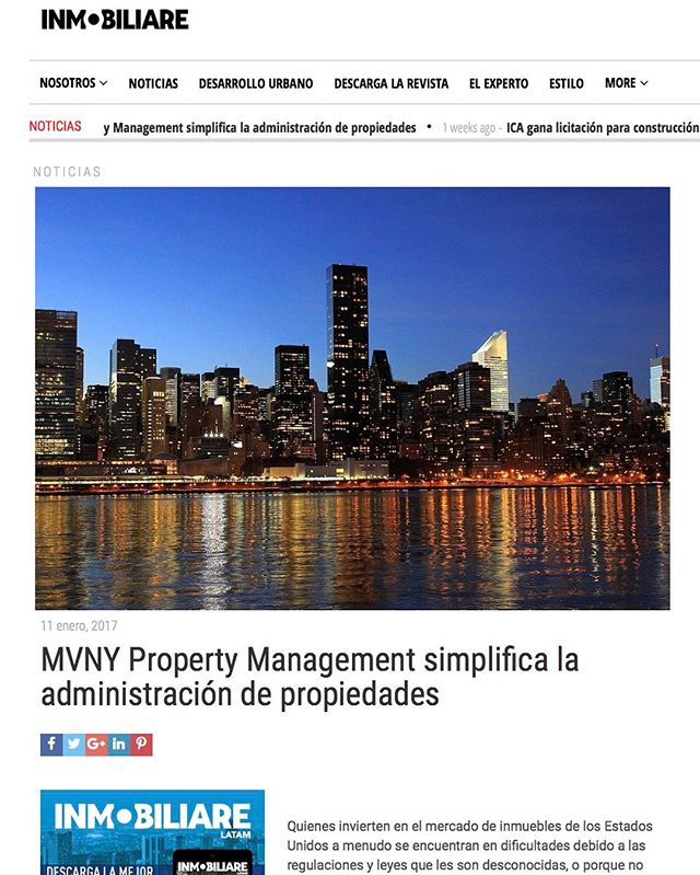 Thank you @inmobiliare_latam for this beautiful feature for our amazing Mexican audience! 😌🙌🏼 #propertymanagement #mexico #newyork #nyrealtors #nybrokers #therealdeal #newyork #nyclifestyle