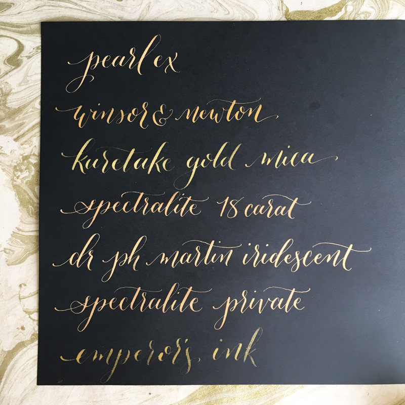 Calligraphy Gold Inks Review (Crooked Calligraphy)